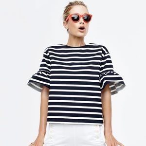 J Crew Striped Ruffle Sleeve T-Shirt